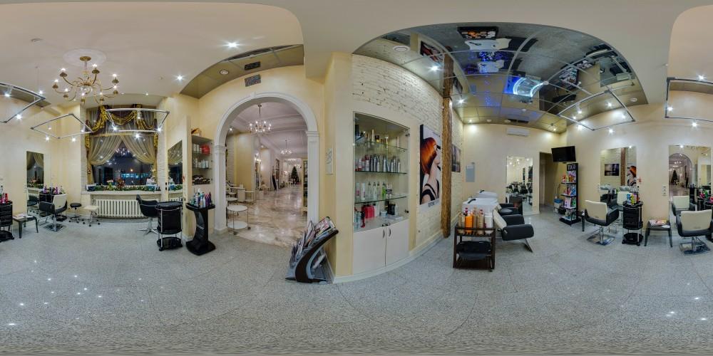 Панорама парикмахерского зала и холла